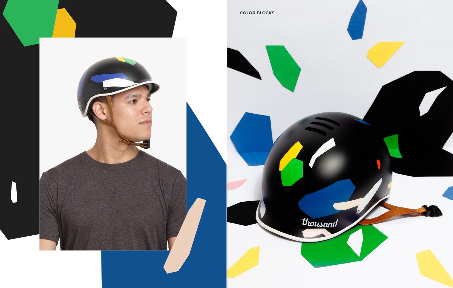 Thousand x Poketo collaboration bike helmets, Color Blocks