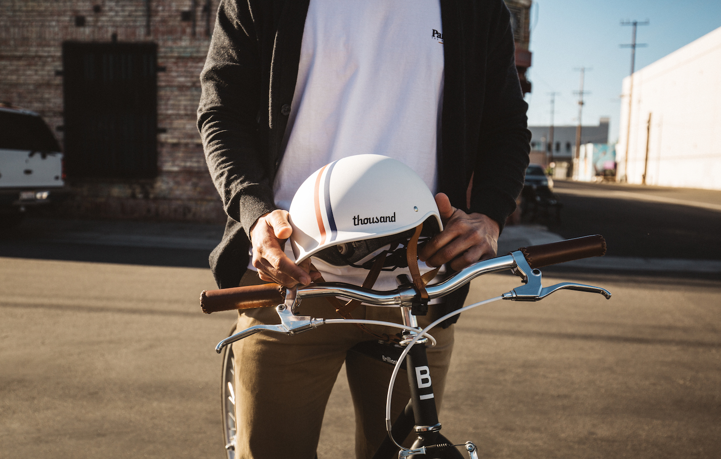 Rose gold bike helmet