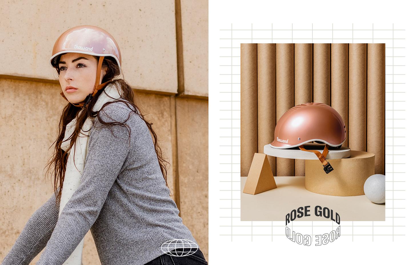 Rose gold bike helmet