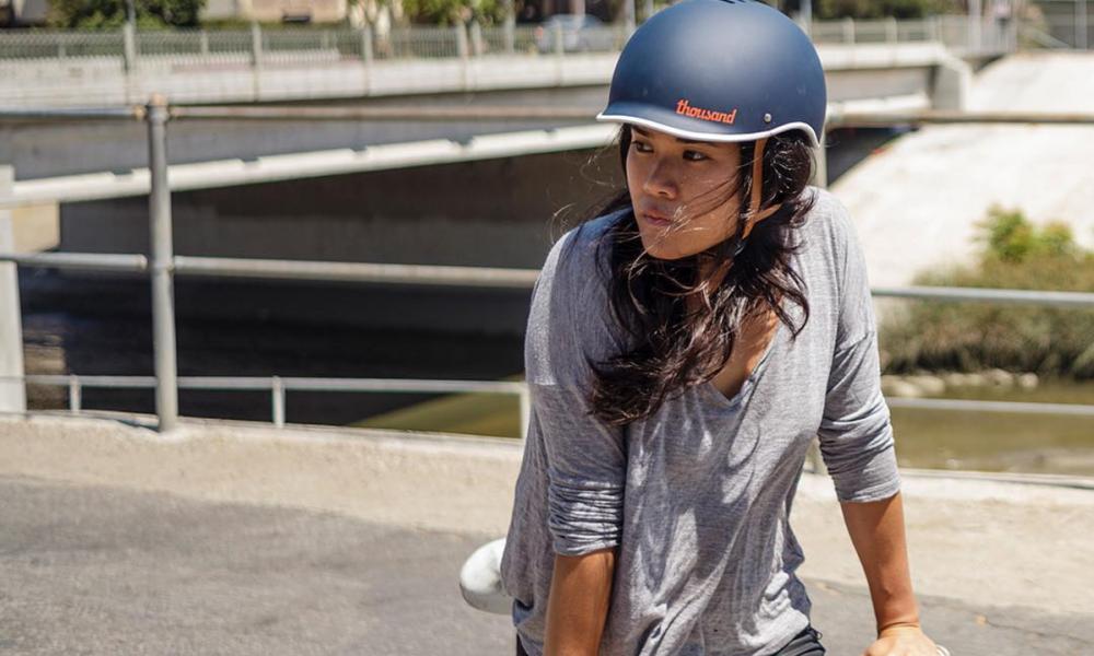 Gloria wearing our blue bike helmet