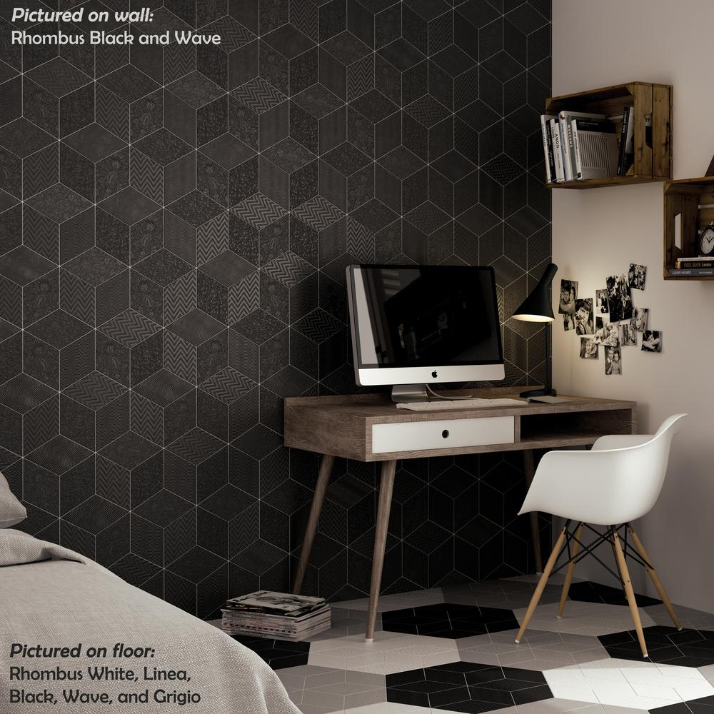Rhombus Black - Diamond Tile