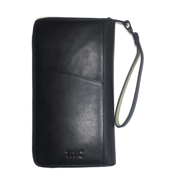 Vegan Leather Black Travel Wallet