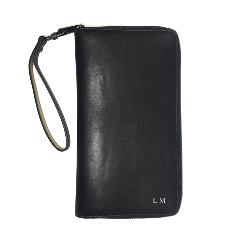 Vegan Leather Black Travel Wallet Monogrammed