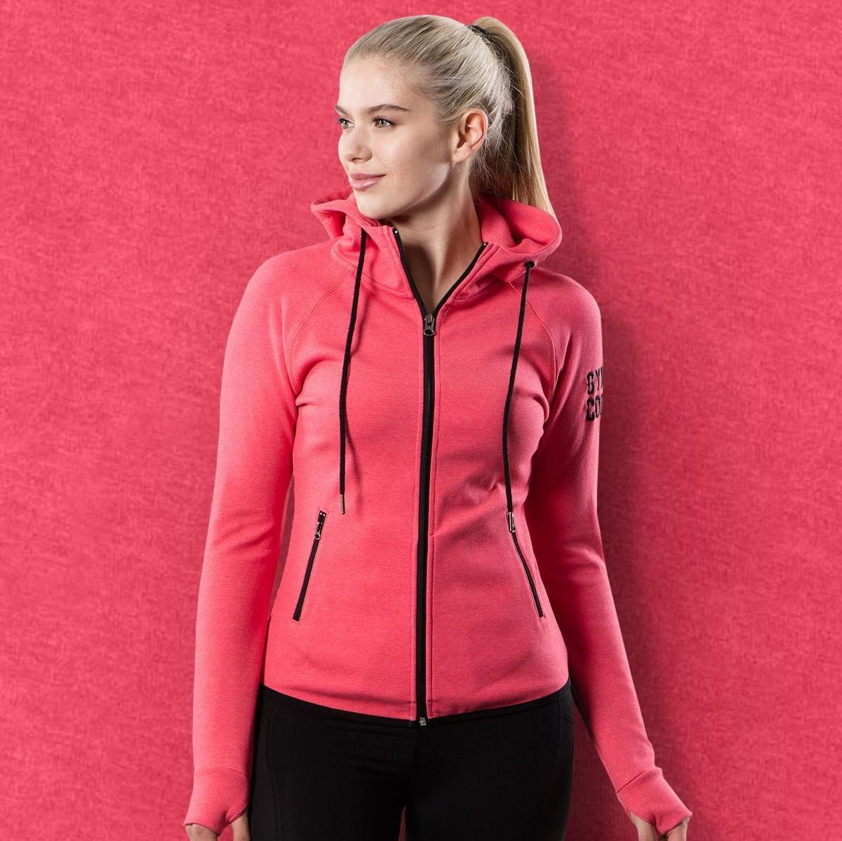 Gym+Coffee Coral Womens Fleece Athleisure Hoodie