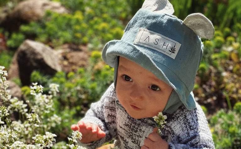 baby linen sun hat