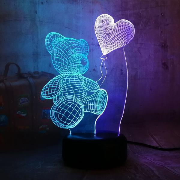 Romantic Teddy Bear 3D Illusion Led Lamp