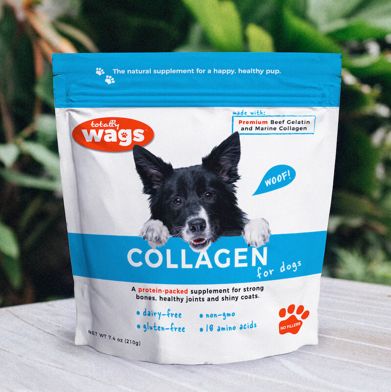 Bag of Collagen for Dogs on Table Outside