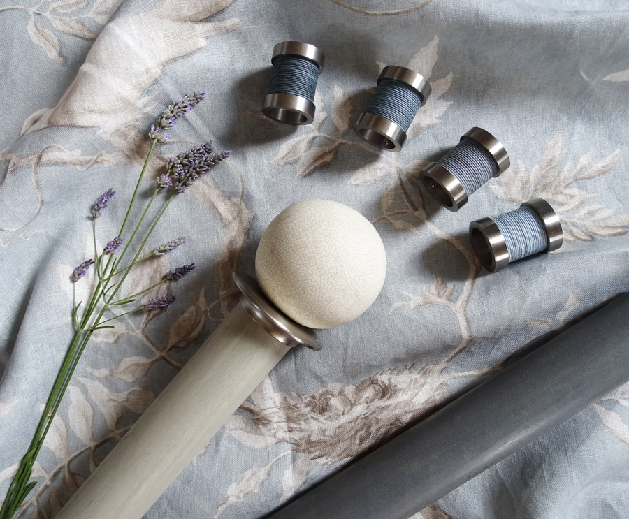 Walcot House curtain poles shown with Lewis and Wood Doves fabric in Rock Dove