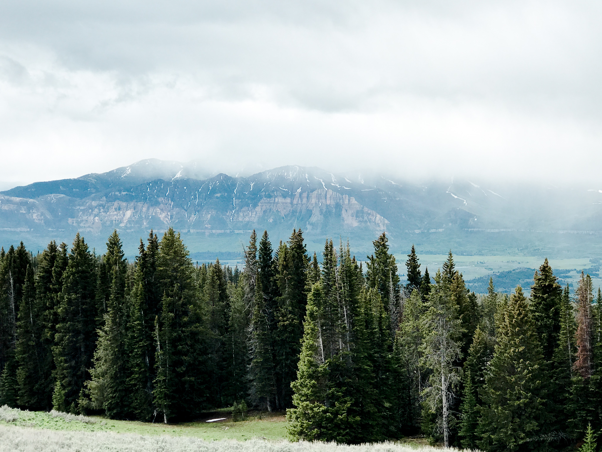 Mountains in clouds over the Beartooth Highway in Montana and Wyoming