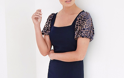 Cecily Alice - Navy & Animal Print Midi Dress