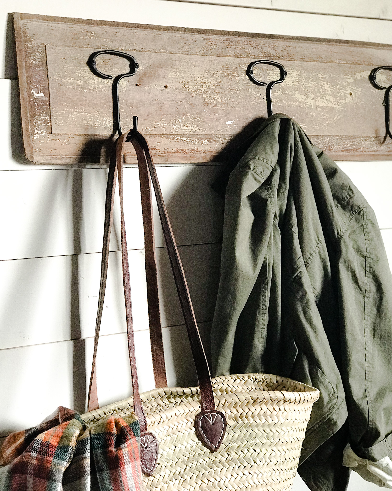 Styled coat rack close-up