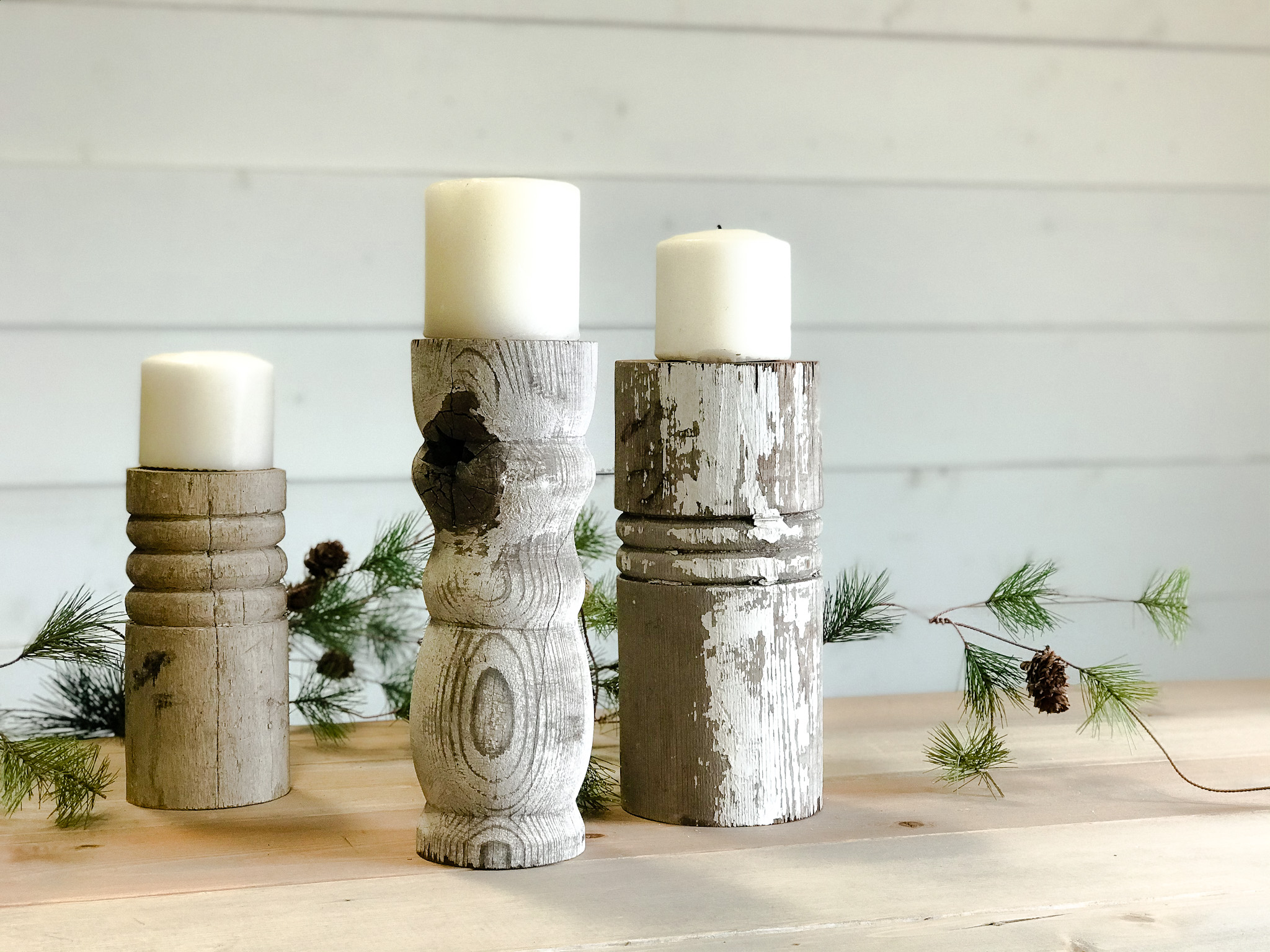 chippy white porch column candle holders