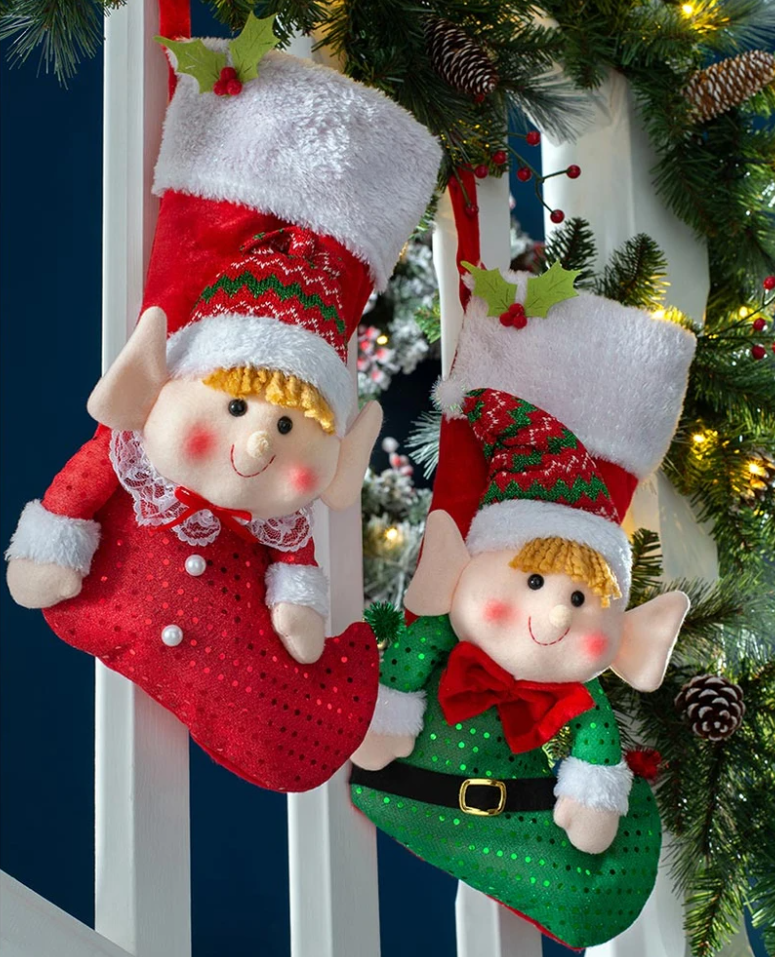 Red and green elf stocking