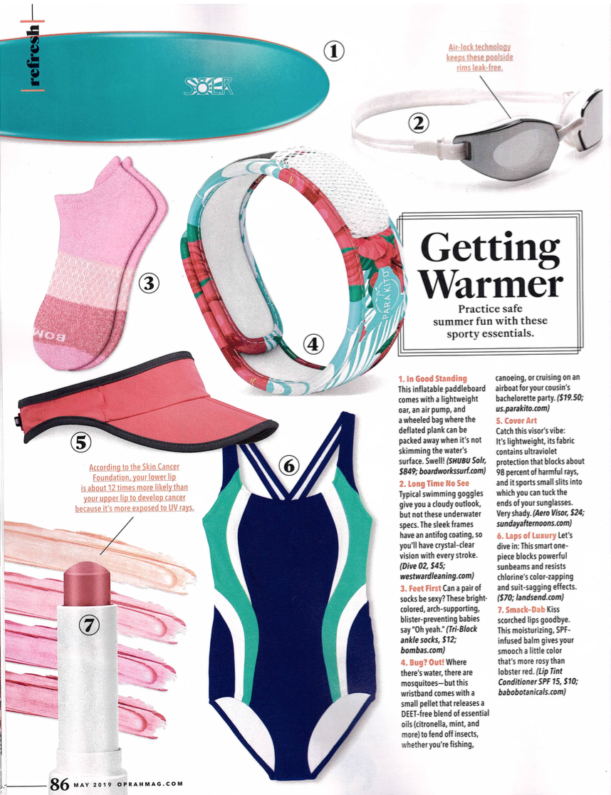 Westward Leaning Dive swim goggles featured in O, The Oprah Magazine May 2019 issue
