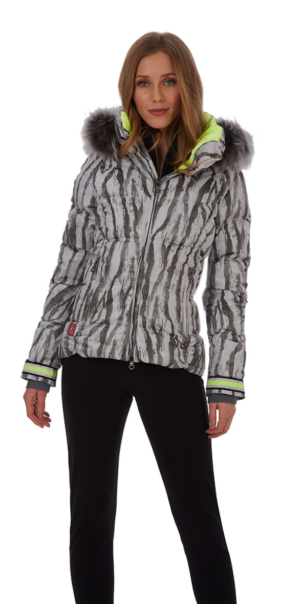 Stripey Grey Animal Print ski jacket for women from Kelly by Sissy at Winternational