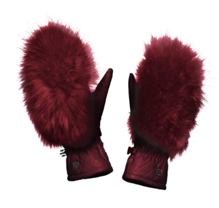 Hando leather and fur mittens in red