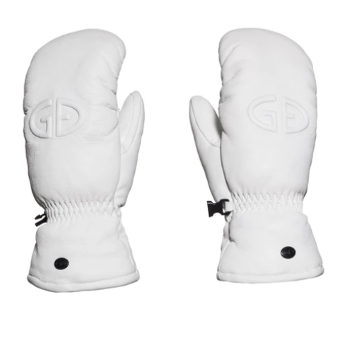 Hilja leather mittens in white