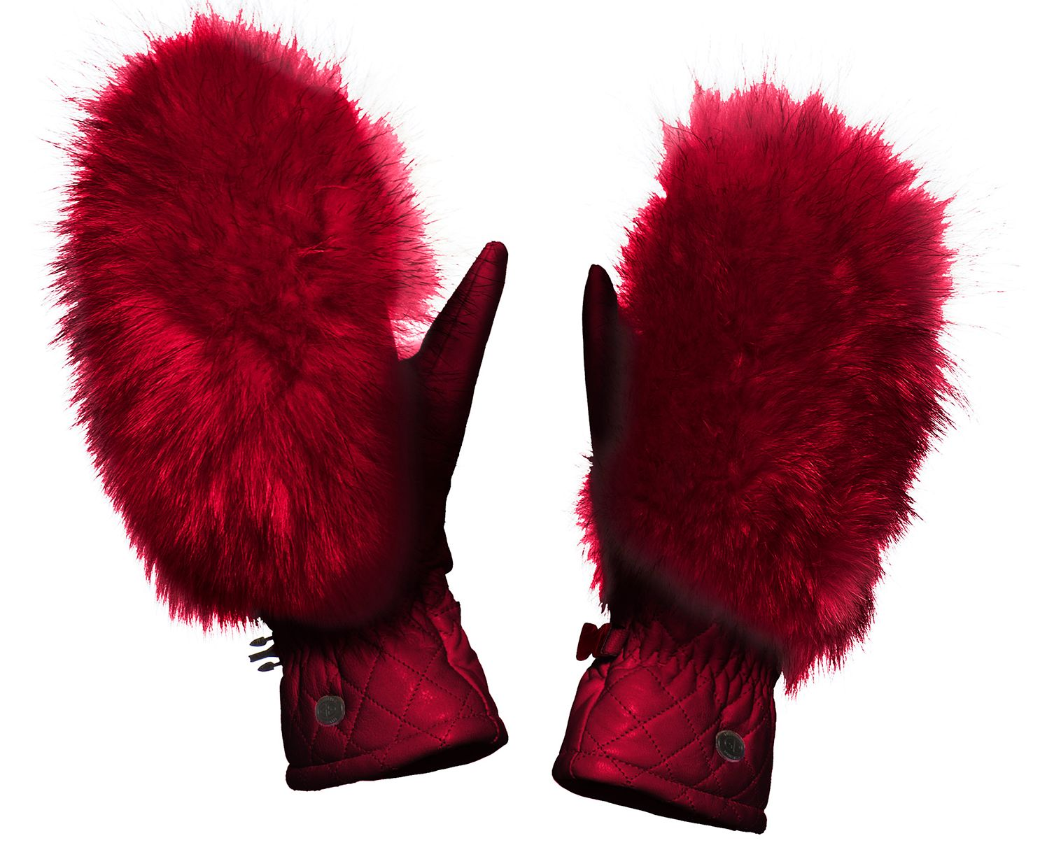 Goldbergh Hando Leather and Fur Mittens