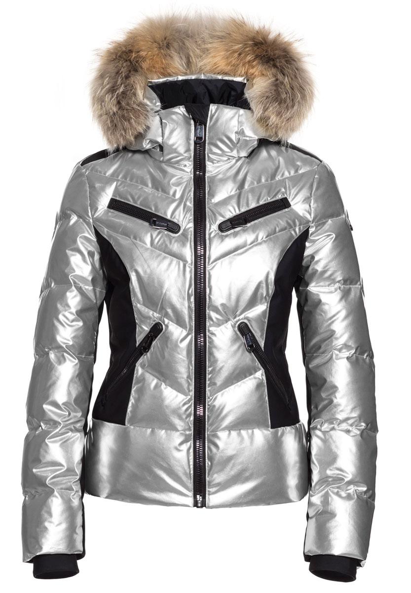 Fjal silver downfilled ski jacket by Goldbergh at Winternational