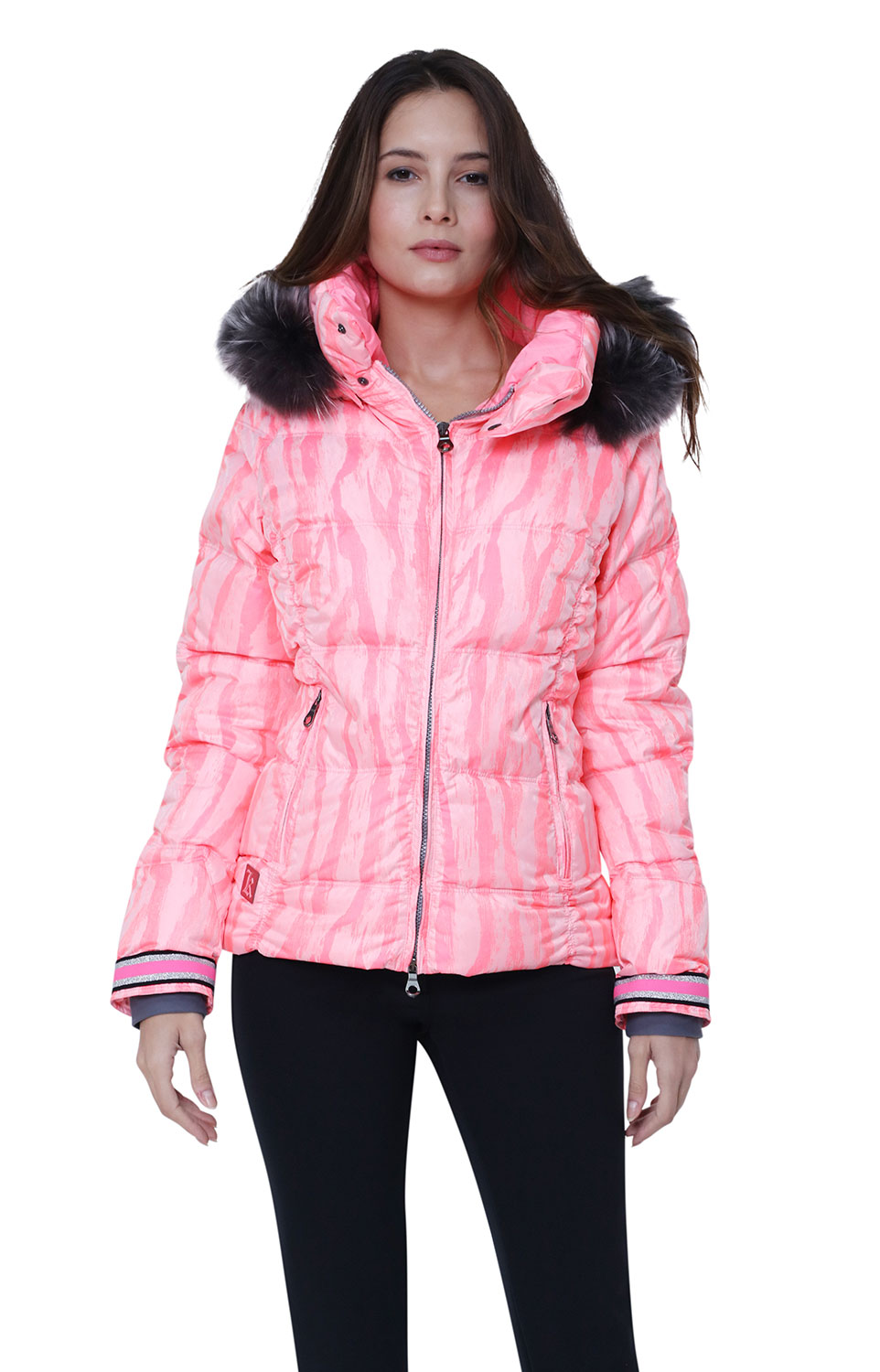 Stripey Coral ski jacket for women from Kelly by Sissy at Winternational