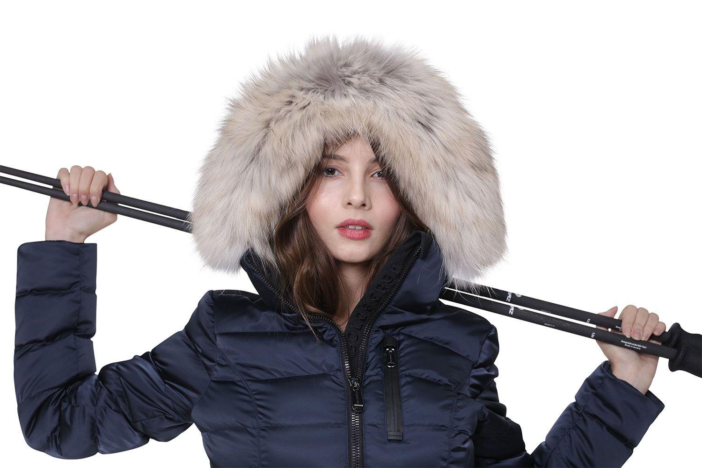 Goldbergh Soldis Navy Blue Faux Fur Ski Jacket with belt