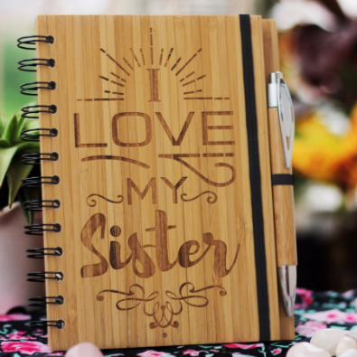 Best gifts for sister - Unique sister gifts - Rakhi Gifts - Fun sister Gifts - best gift for sister - birthday gifts for  sister - Notebook for  sister - Personalized Notebook - Wooden Notebook - Woodgeek Store