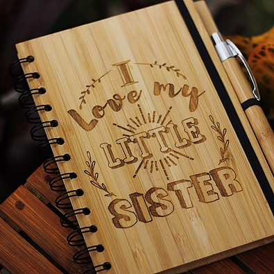 I love my little sister - Best gifts for sister - Unique sister gifts - Rakhi Gifts - Fun sister Gifts - best gift for sister - birthday gifts for  sister - Notebook for  sister - Personalized Notebook - Wooden Notebook - Woodgeek Store