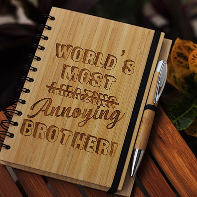 Best gifts for brother - Unique brother gifts - Rakhi Gifts - Funbrother Gifts - best gift for  brother - birthday gifts for  brother - Notebook for  brother - Personalized Notebook - Wooden Notebook - Woodgeek Store