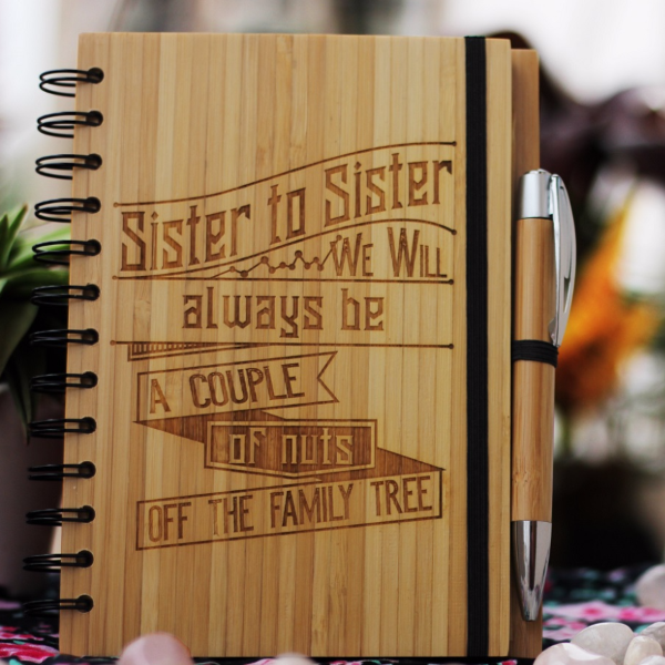 Sister to sister we will always be a couple of nuts off the family tree - Best gifts for sister - Unique sister gifts - Rakhi Gifts - Fun sister Gifts - best gift for sister - birthday gifts for  sister - Notebook for  sister - Personalized Notebook - Wooden Notebook - Woodgeek Store