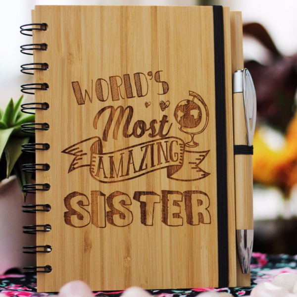 World's Most Amazing Sister - Best gifts for sister - Unique sister gifts - Rakhi Gifts - Fun sister Gifts - best gift for sister - birthday gifts for  sister - Notebook for  sister - Personalized Notebook - Wooden Notebook - Woodgeek Store