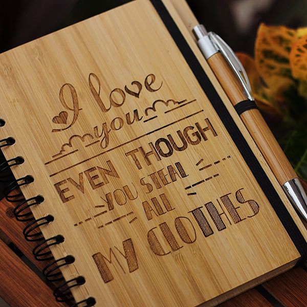 I love you even though you steal my clothes - Best gifts for sister - Unique sister gifts - Rakhi Gifts - Fun sister Gifts - best gift for sister - birthday gifts for  sister - Notebook for  sister - Personalized Notebook - Wooden Notebook - Woodgeek Store