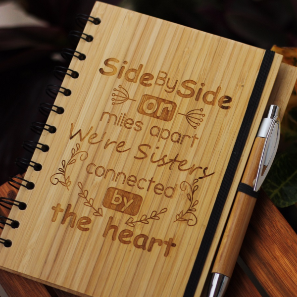 Side by side or miles apart, we're sisters connected by the heart - Best gifts for sister - Unique sister gifts - Rakhi Gifts - Fun sister Gifts - best gift for sister - birthday gifts for  sister - Notebook for  sister - Personalized Notebook - Wooden Notebook - Woodgeek Store