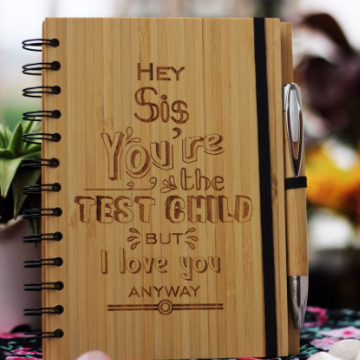 Best gifts for brother/sister - Unique brother/sister gifts - Rakhi Gifts - Fun brother/sister Gifts - best gift for  brother/sister  - birthday gifts for brother/sister  - Notebook for brother/sister  - Personalized Notebook - Wooden Notebook - Woodgeek Store