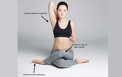 cow face arms - Yoga poses for shoulder and neck pain