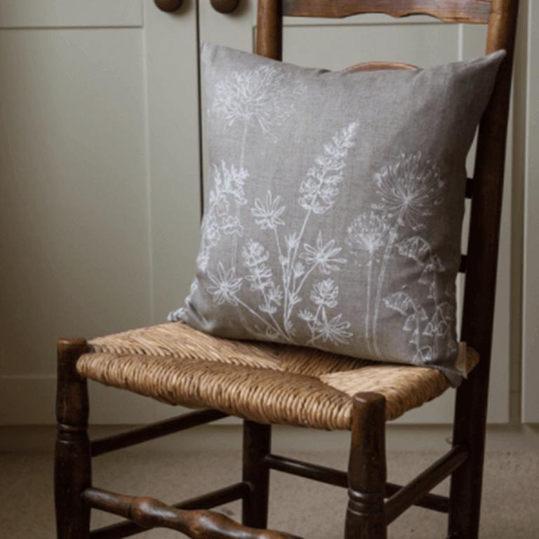 Hand Printed Linen Cushion - Garden Collection