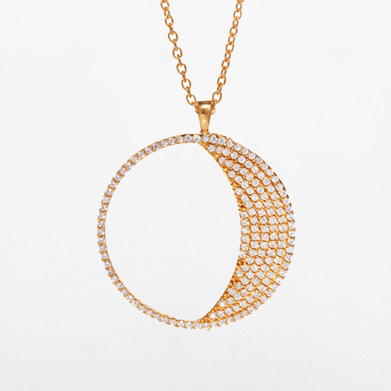 Waxing Moon Necklace (Large) - Gold