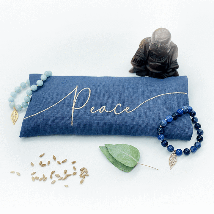 Peace Embroidered Linen Eye Pillow