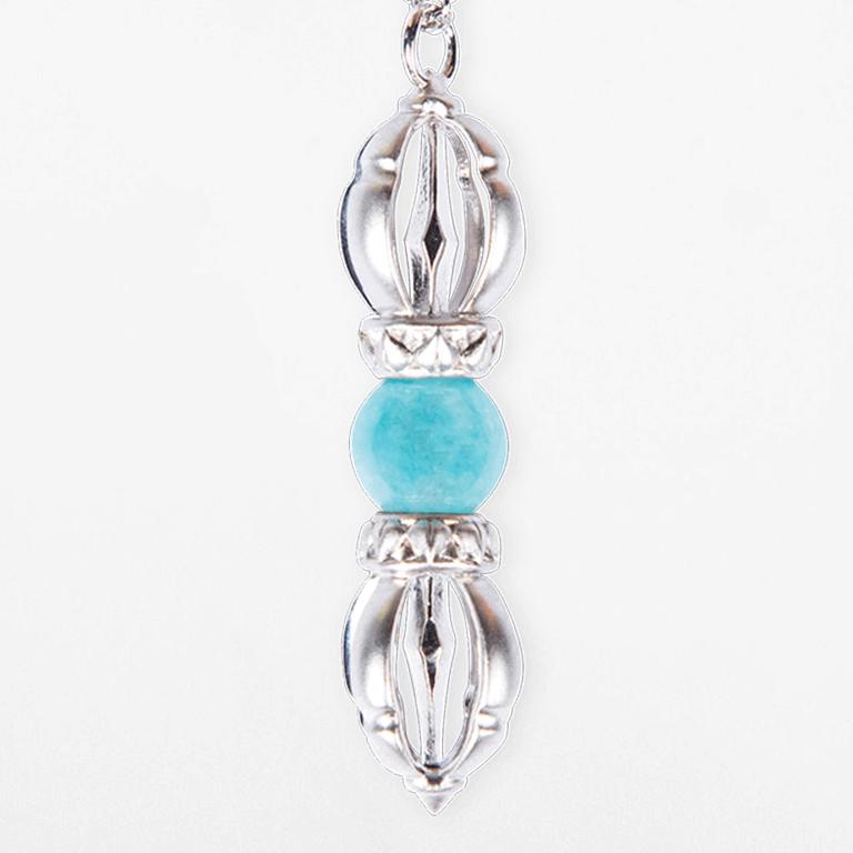 The Ocean of Infinity - White Gold & Aquamarine Gemstone Necklace