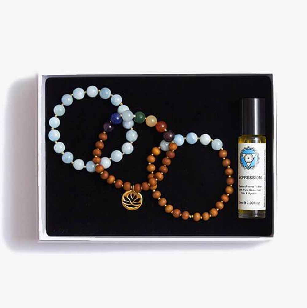 Truth & Trust Chakra Bracelet Stack & Essential Oils Gift Box