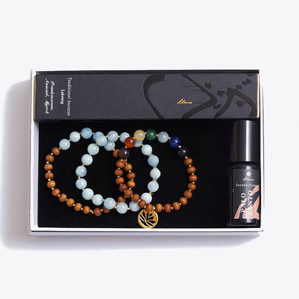 Chakra Bracelet Stack & Incense Sticks & Essential Oils Gift Box