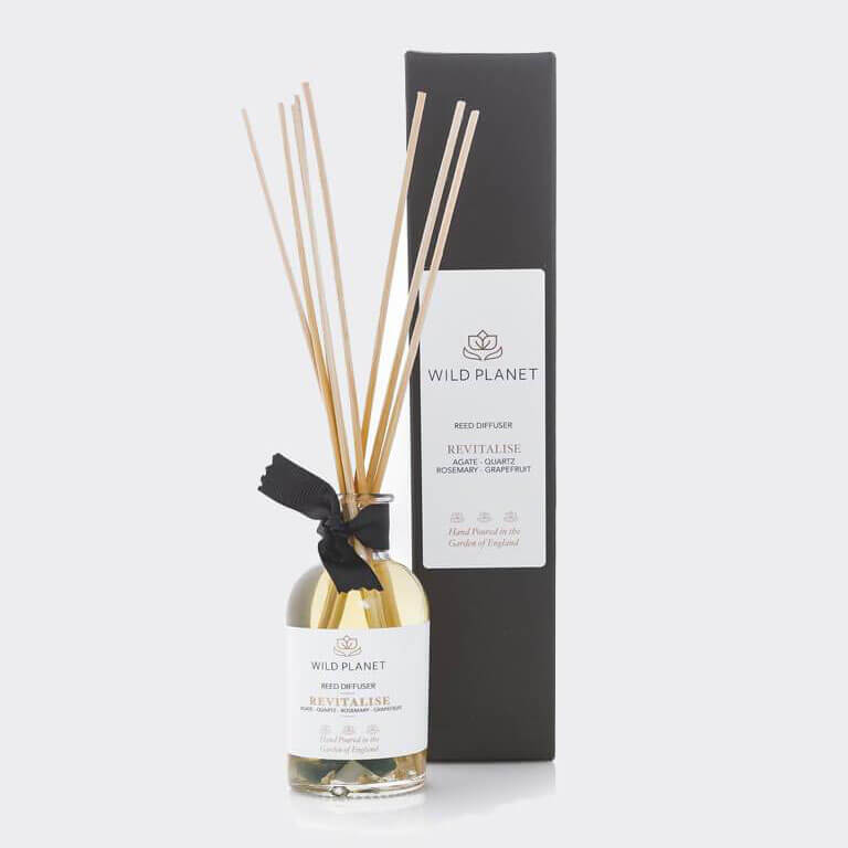 Revitalise - Crystal Infused Reed Diffuser with Green Moss Agate & Quartz