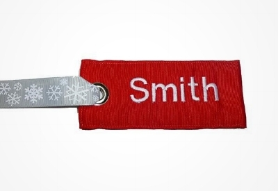 Red Fabric Personalized Luggage Tag for Holiday Gifts