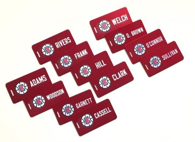 Custom Aluminum Luggage Tags for the Los Angeles Clippers NBA Team