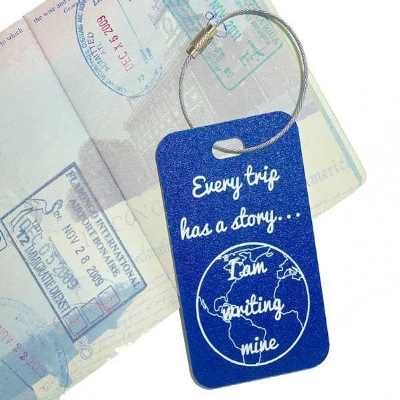 Blue and White Commemorative Luggage Tag from YourBagTag.com